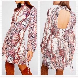 New FREE PEOPLE Paisley Tunic Cutout Dress
